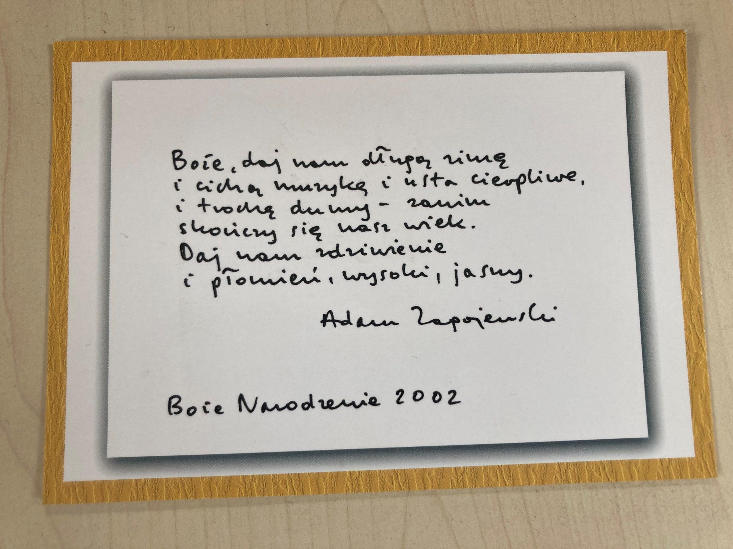 Wspomnienie o Adamie Zagajewskim